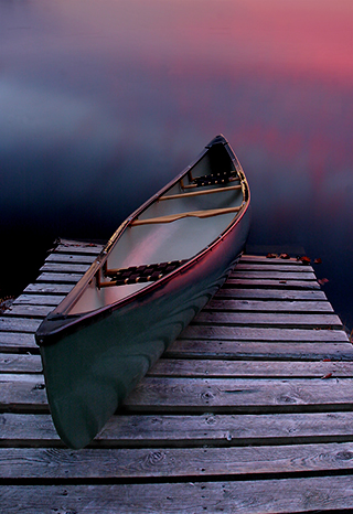 Canoe Twilight, Kejimkujik, Nova Scotia, by Andrew Jones
