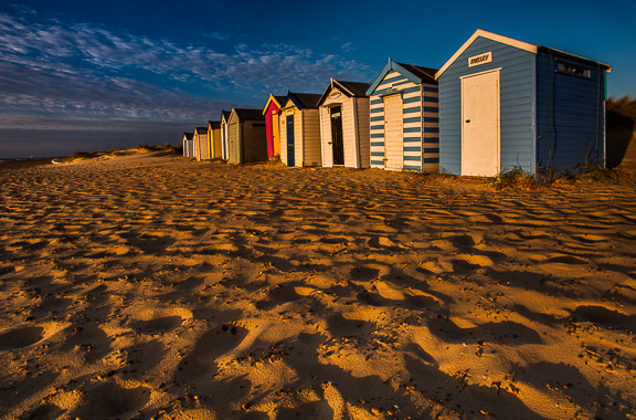 Beach Huts at Dawn, Southwold, Suffolk, by Andrew Jones